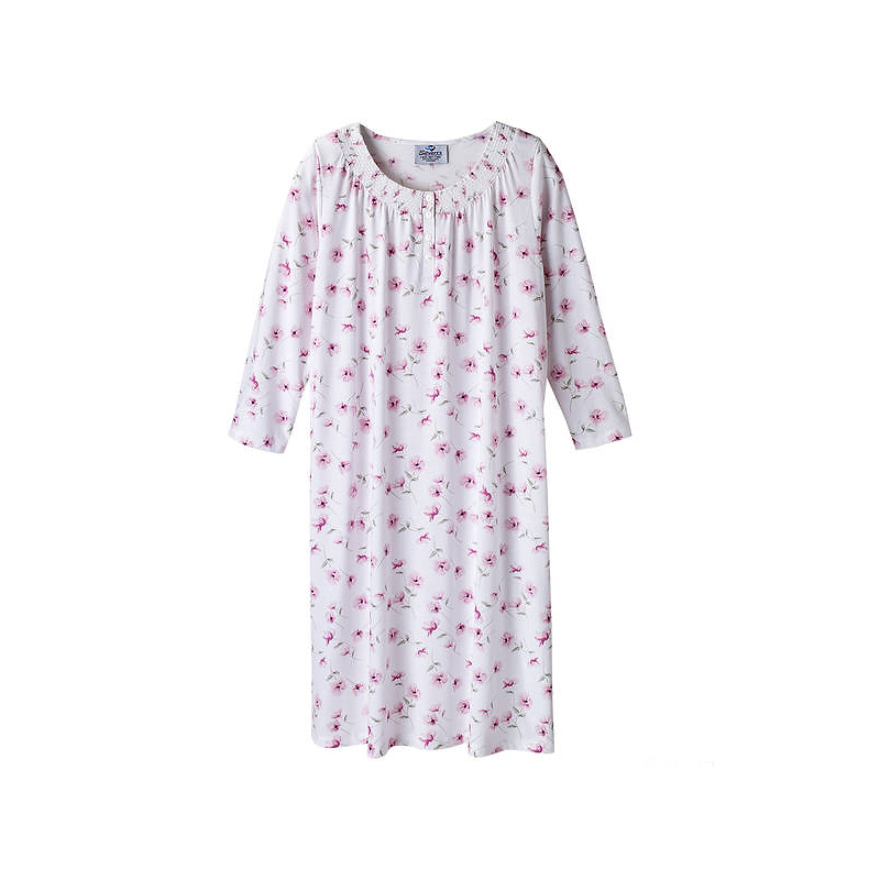 Silvert's Ladies Smocked Neck Nightgown - Small - 2XL