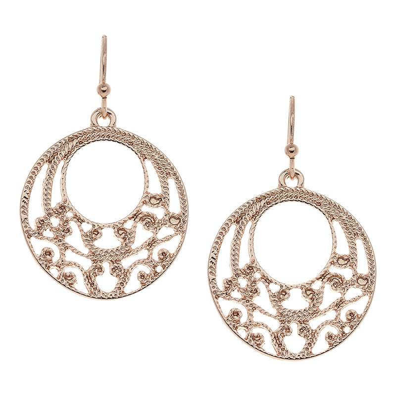 Danori Gold Filigree Round Hoop Earring - Rose Gold