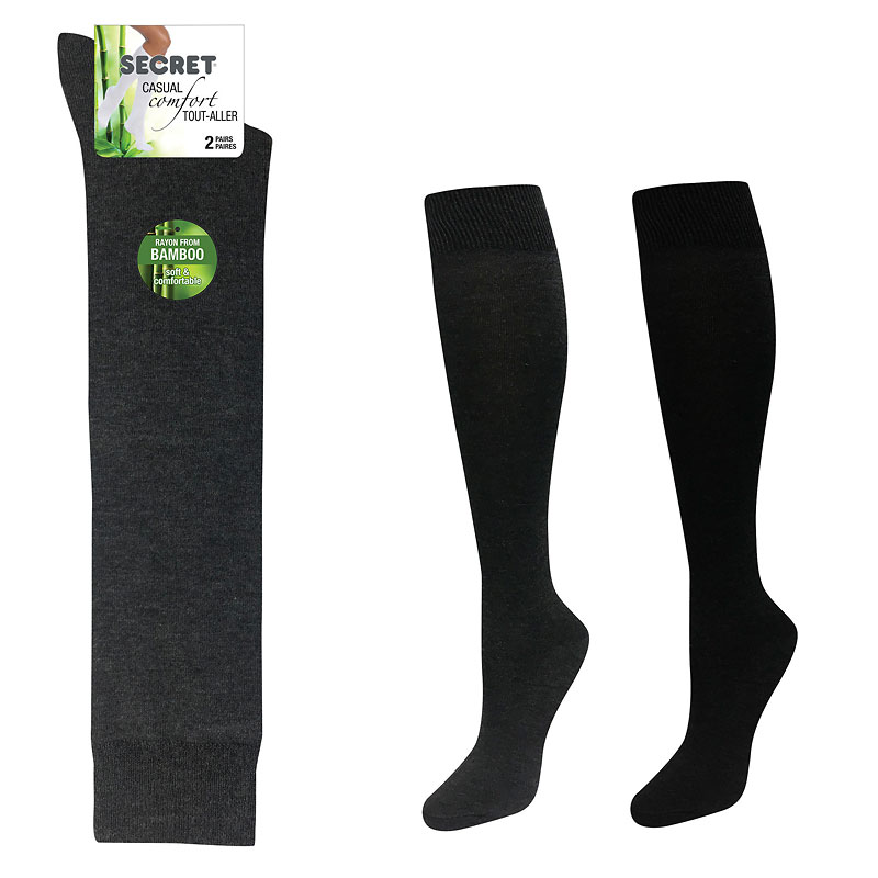 Secret Nature Bamboo Knee High Socks - Black/Charcoal - 2 pair