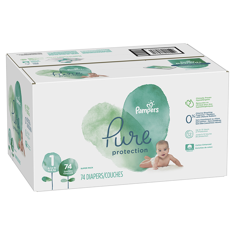 Pampers Pure Diapers - Size 1 - 74's