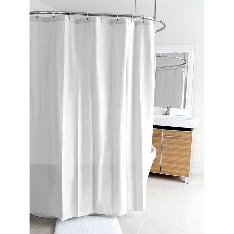 Splash Ella Micro Fabric Shower Curtain - White