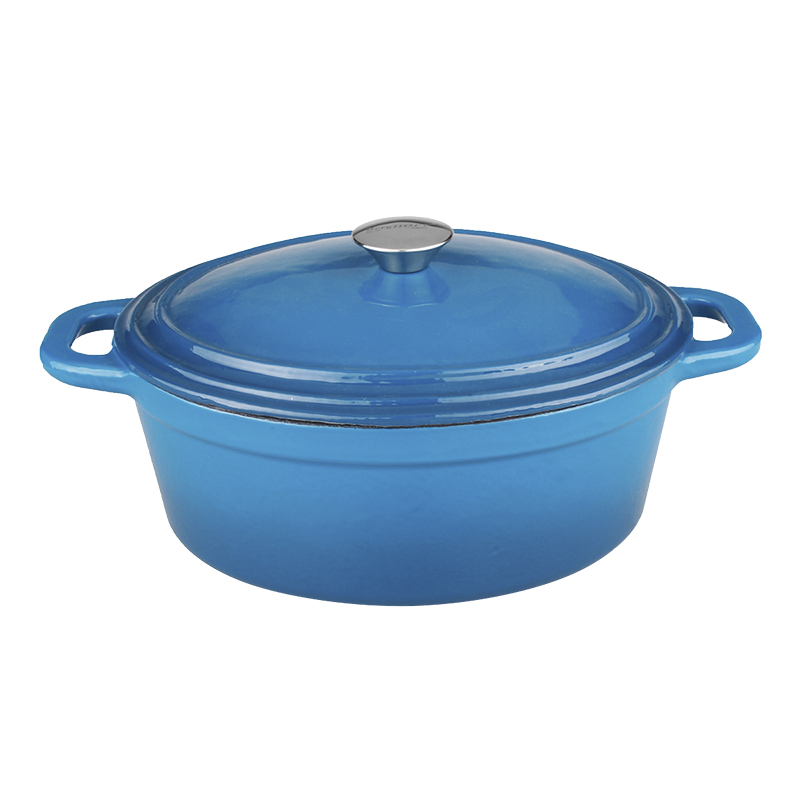 Neo Cast Iron Oval Covered Casserole - Blue - 8qt