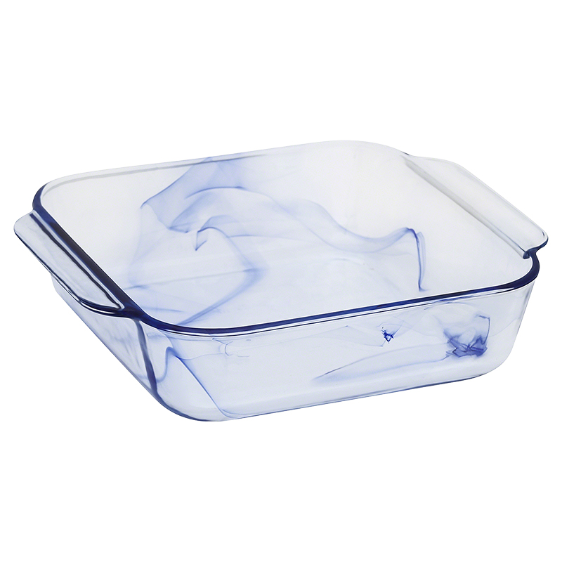 Pyrex Watercolour Square - Blue - 8in