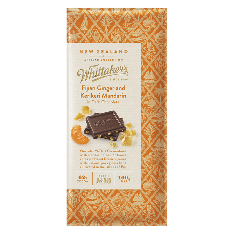 Whittaker's Dark Chocolate - Fijian Ginger and Kerikeri Mandarin - 100g