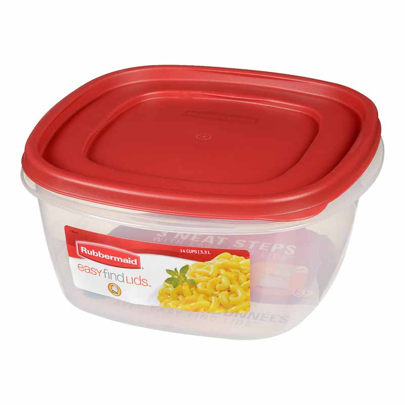 Rubbermaid Easy Find Lid Square Food Storage Container - Chili Red - 3.3L
