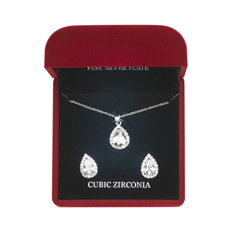 Danecraft Cubic Zirconia Jewelry Box Set - Teardrop
