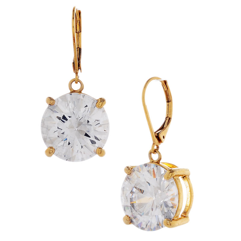 Betsey Johnson Drop Crystal Earrings - Gold Tone