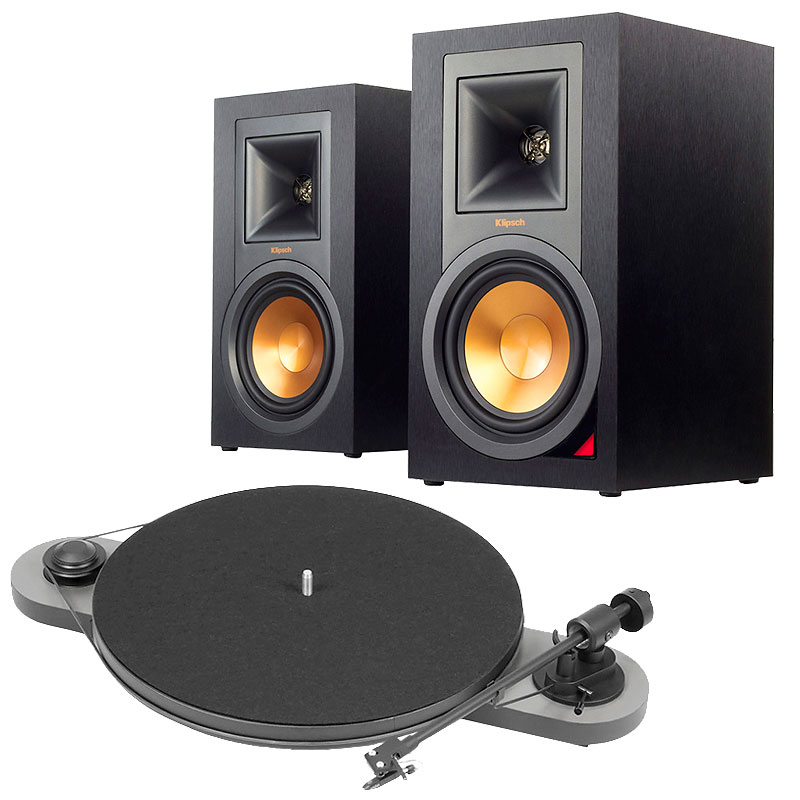 Klipsch R15PM Speaker Pair + Pro-Ject Elemental Turntable - PKG #14177