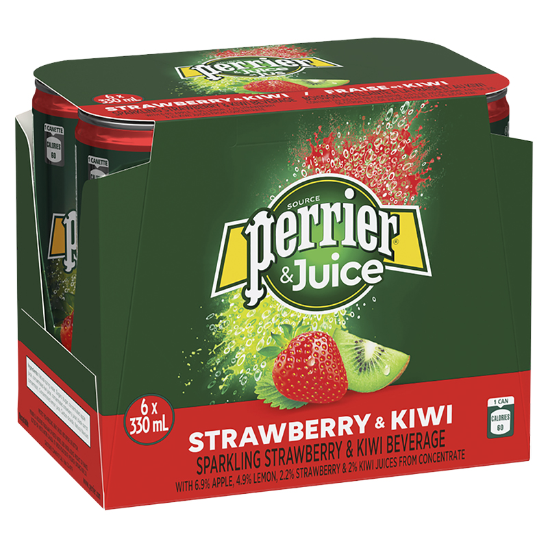 Perrier & Juice Sparkling Beverage - Strawberry & Kiwi - 6x330ml
