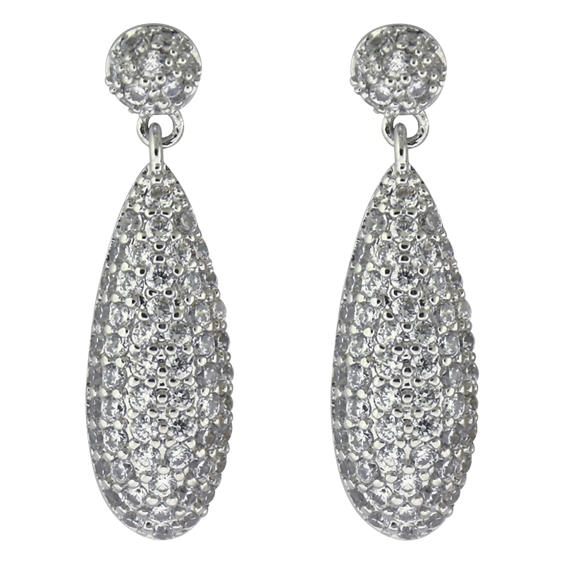 Puccini Cubic Zirconia Pave Teardrop Earrings