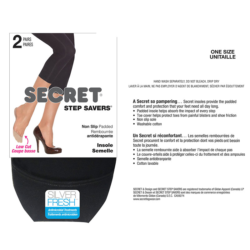 Secret Shoe Savers Footcover - Black - 2 pair