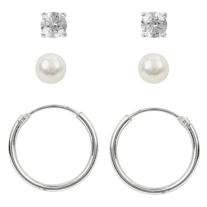 Charisma Stainless Steel Trio Earring Set
