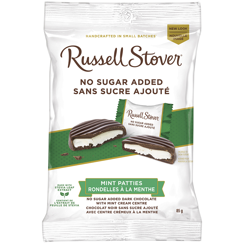 Russell Stover No Sugar Added Chocolate - Mint Patties - 85g