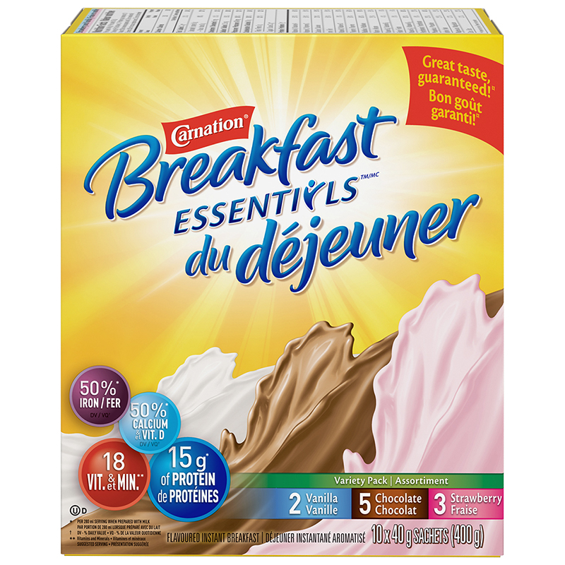 Nestle Carnation Breakfast Anytime - Variety Pack - 10 x 40g