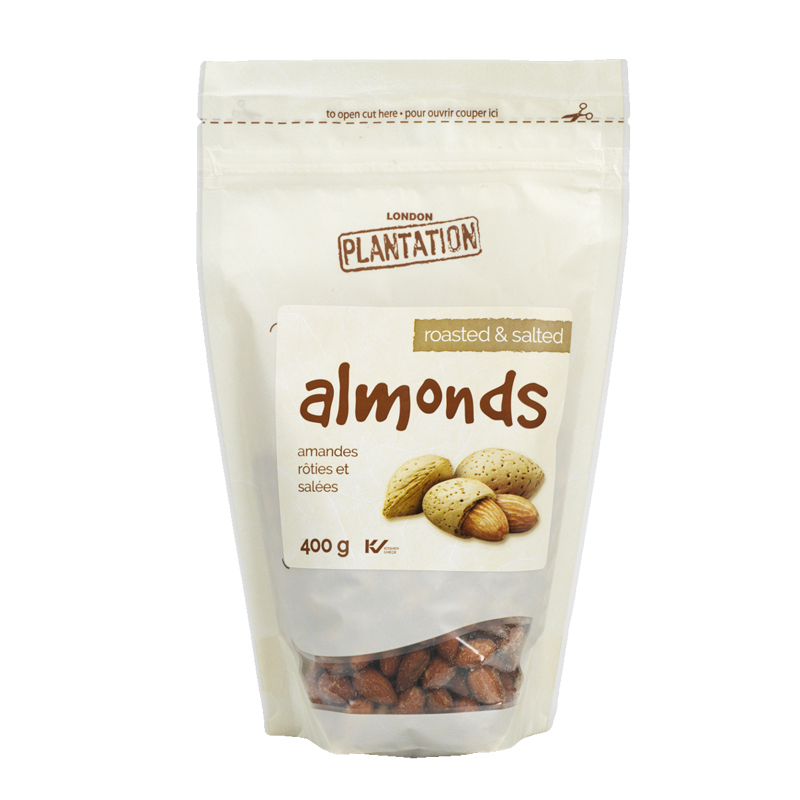 London Plantation Almonds - Roasted & Salted - 400g