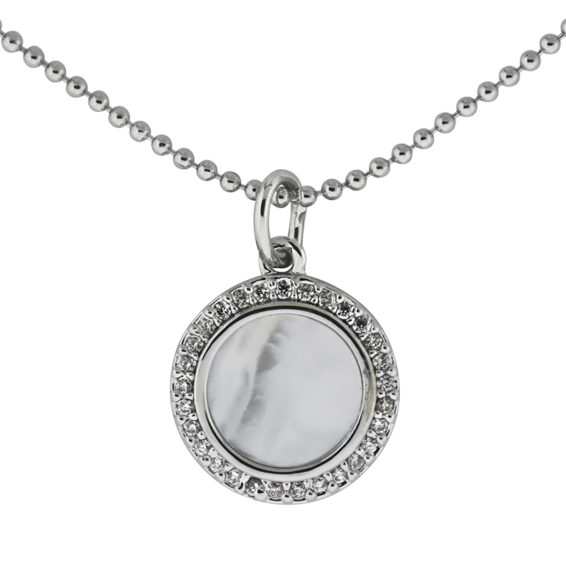 Puccini Cubic Zirconia Round Pendant Ball Chain Necklace - Rhodium