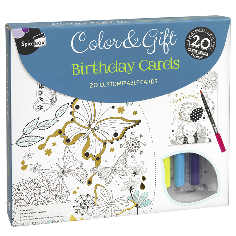 Spicebox Colour & Gift - Birthday Cards - 20 piece
