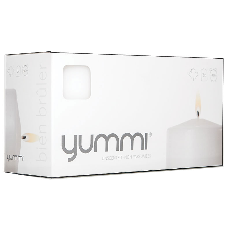 Yummi Pillar Candle - White - 4 x 3inch - 3 pack