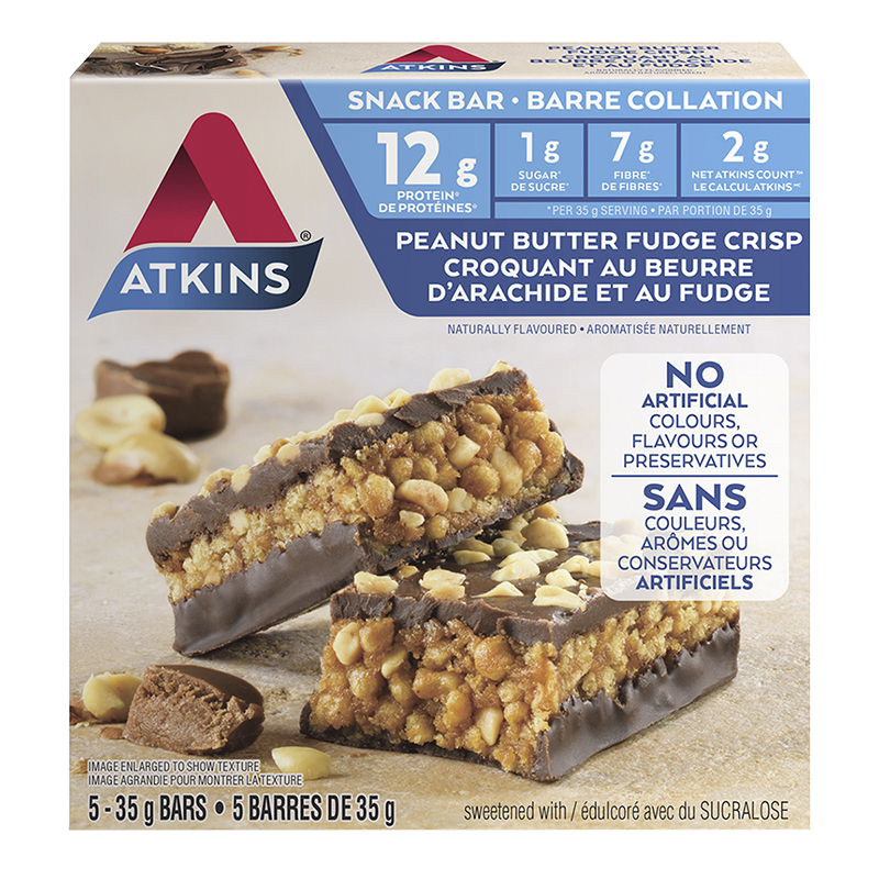 Atkins Snack Bar - Peanut Butter Fudge Crisp - 5 x 35g