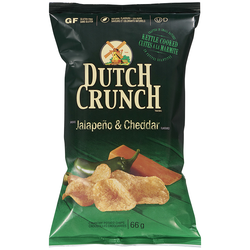 Dutch Crunch Kettle Cooked Potato Chips - Jalapeno & Cheddar - 66g