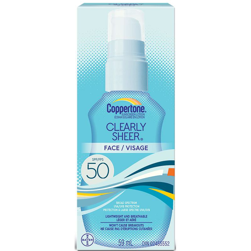 Coppertone Clearly Sheer Face Sunscreen Lotion - SPF50 - 59ml