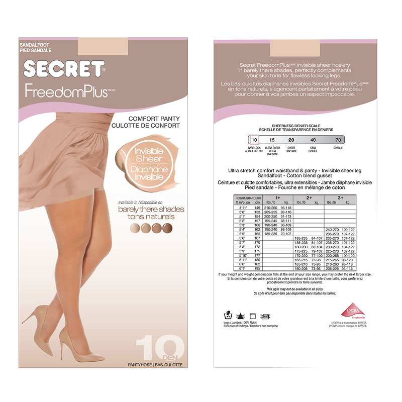Secret FreedomPlus Invisible Sheer Top Pantyhose - Light Nude