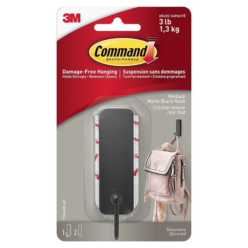 3M Command Hook - Matte Black - Single