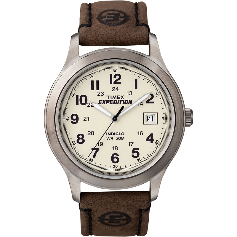 Timex Expedition Scout Metal Watch - Silver/Black/Brown - T49870GP