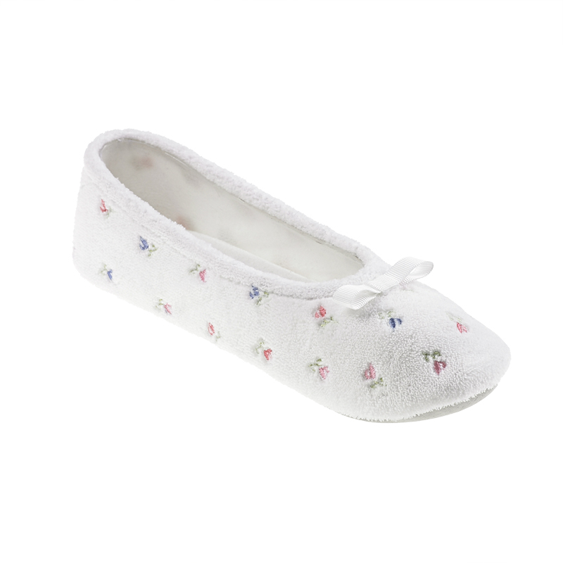 Isotoner Microterry Embroidered Ballerina Slipper