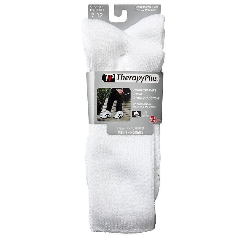 TherapyPlus Men's Diabetic Crew Socks - Shoe Size 7-12 - White - 2 pairs