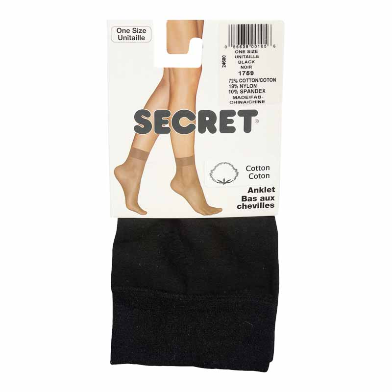 Secret Cotton Ankle High - Black