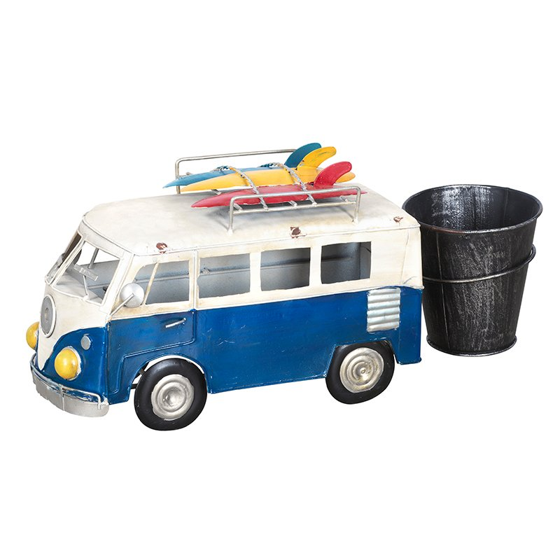 London Drugs Metal Van with Flower Pot - Blue/White