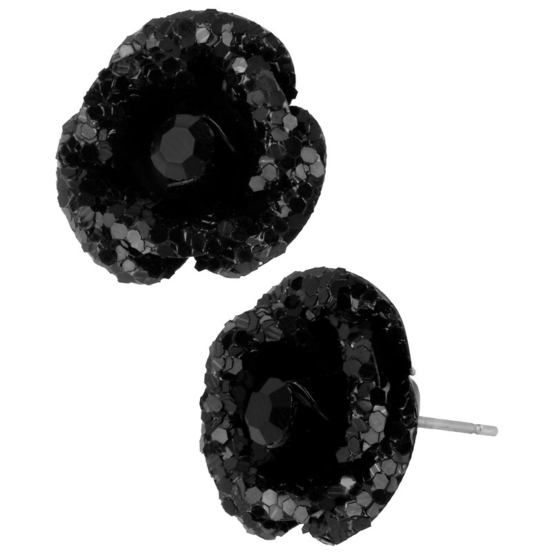 Betsey Johnson Glitter Flower Stud Earrings - Black