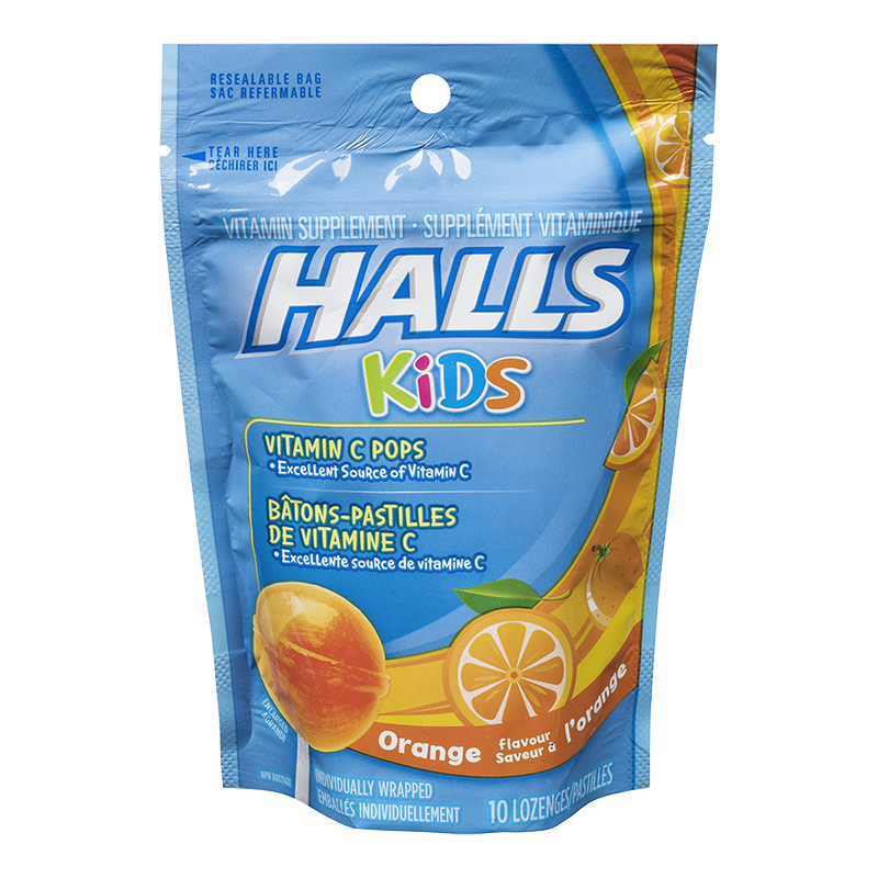 Halls Kids Vitamin C Pops - Orange - 10's