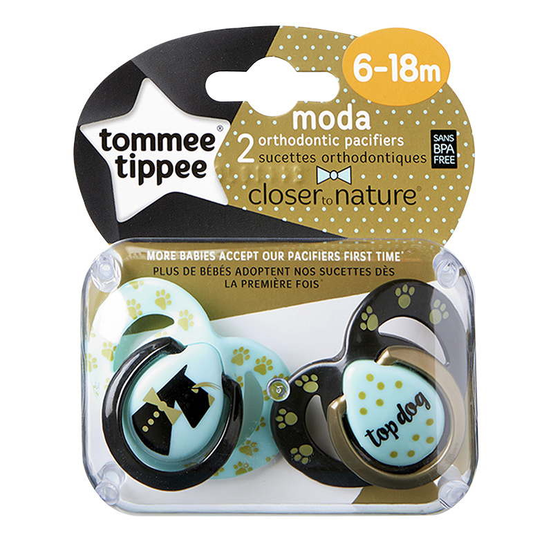Tommee Tippee Closer to Nature Moda Pacifier - 6-18 Months - 2 pack - Assorted