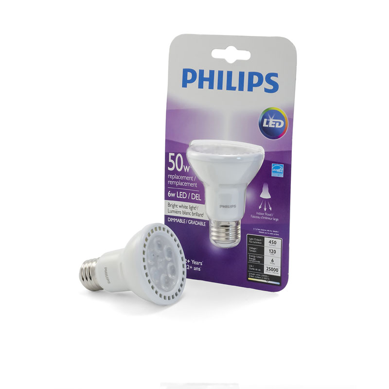Philips PAR20 LED Light Bulb - Bright White - 6w/50w
