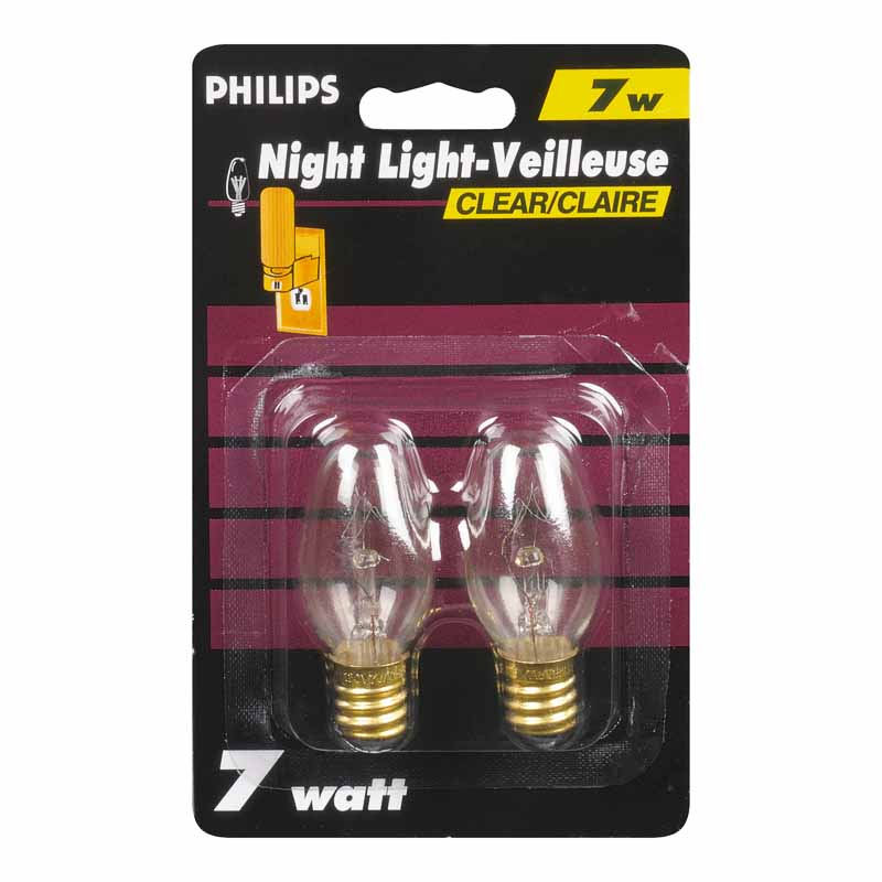 Philips 7W Clear Night Light - 2 pack