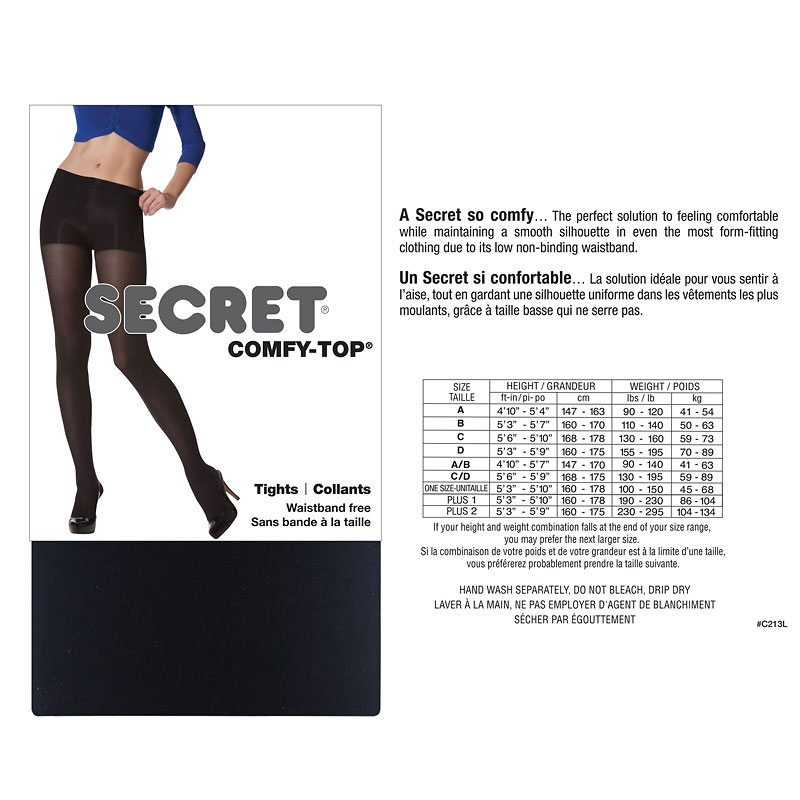 Secret No-Waistband Tights - C - Black