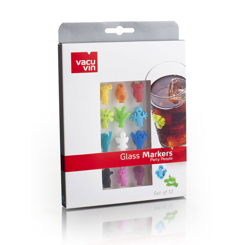Vacu Vin Colourful Glass Markers - 12 pieces - Assorted