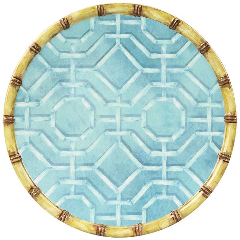 London Drugs Melamine Dinner Plate - Blue Bamboo Rim - 11in