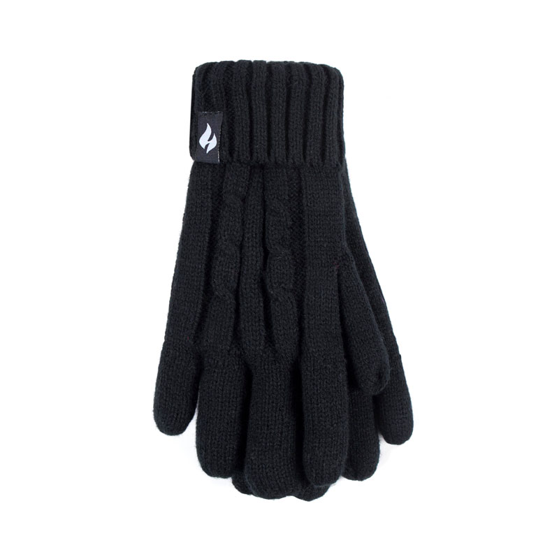 Heat Holders Ladies Knit Gloves - Black - Small