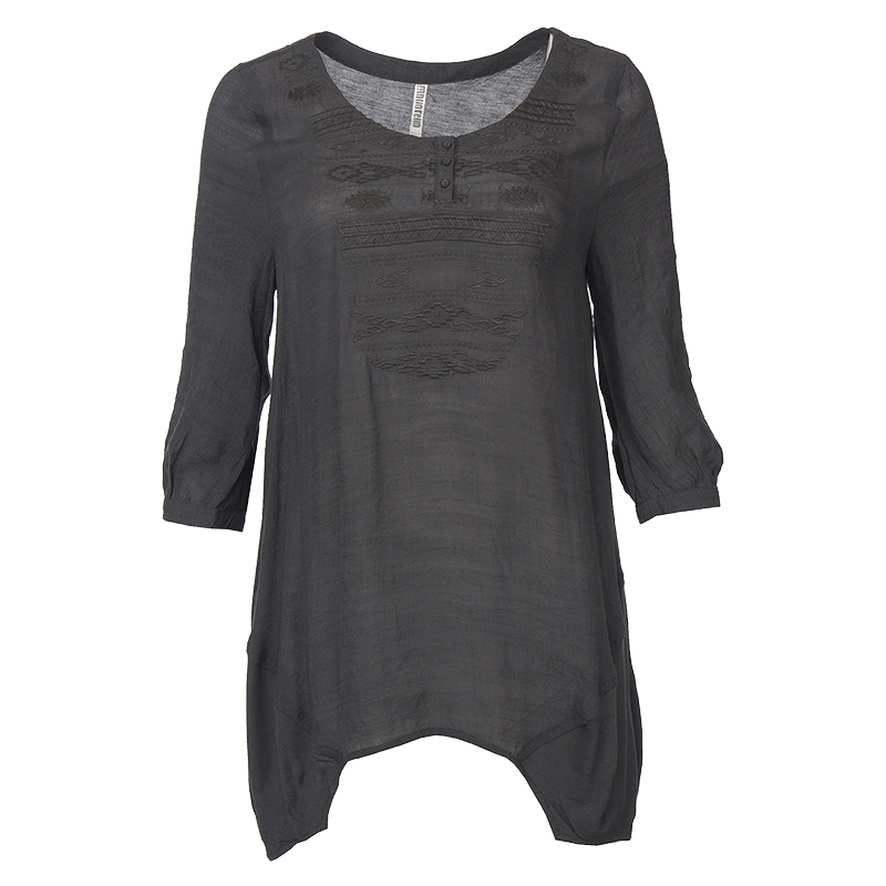 Lava Embroidered Henley Top - Charcoal