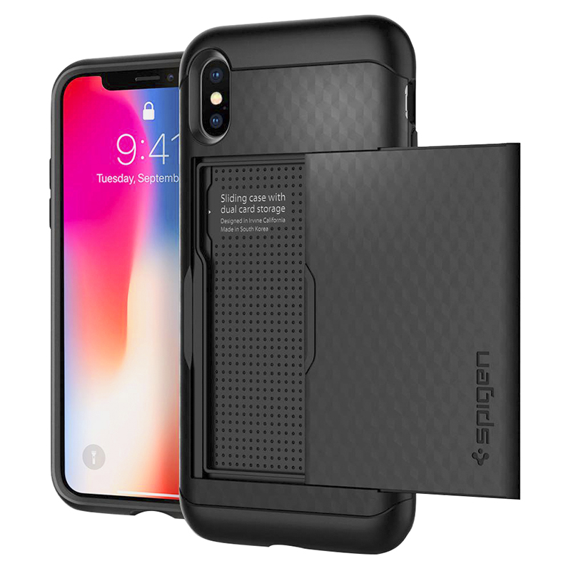 Spigen Crystal Wallet for iPhone X - Black - SGP057CS22151