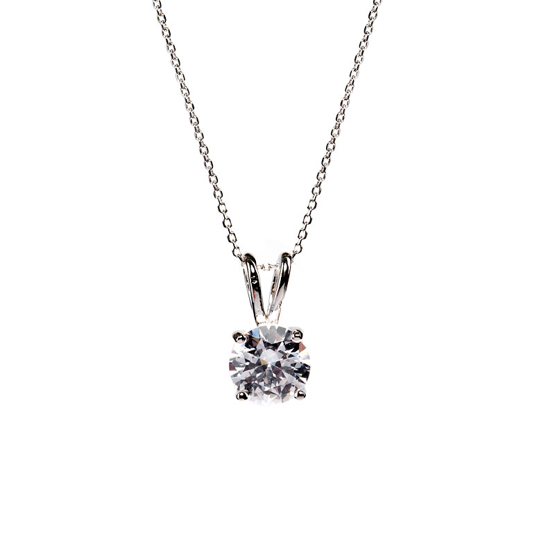 Charisma Stainless Steel Cubic Zirconia Round Necklace