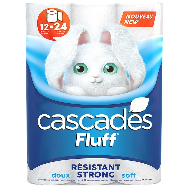 Cascades Fluff Strong Double Roll Bathroom Tissue - 12's