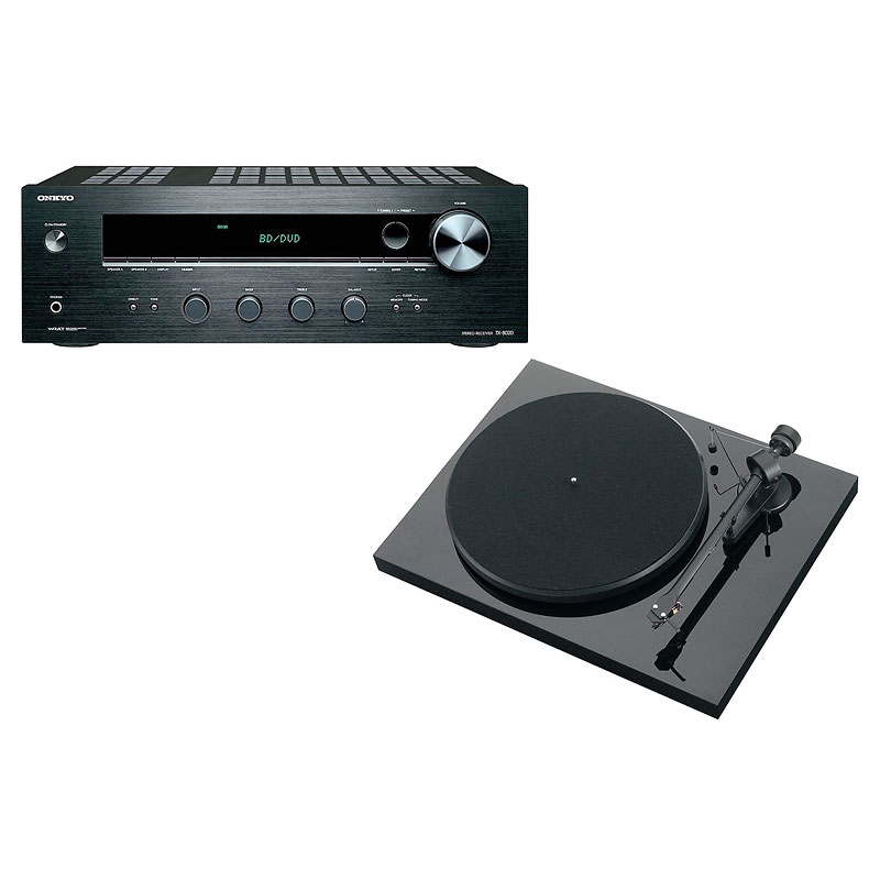 Pro-Ject Debut III Manual Turntable - Black + Onkyo Stereo Receiver -PKG #17369