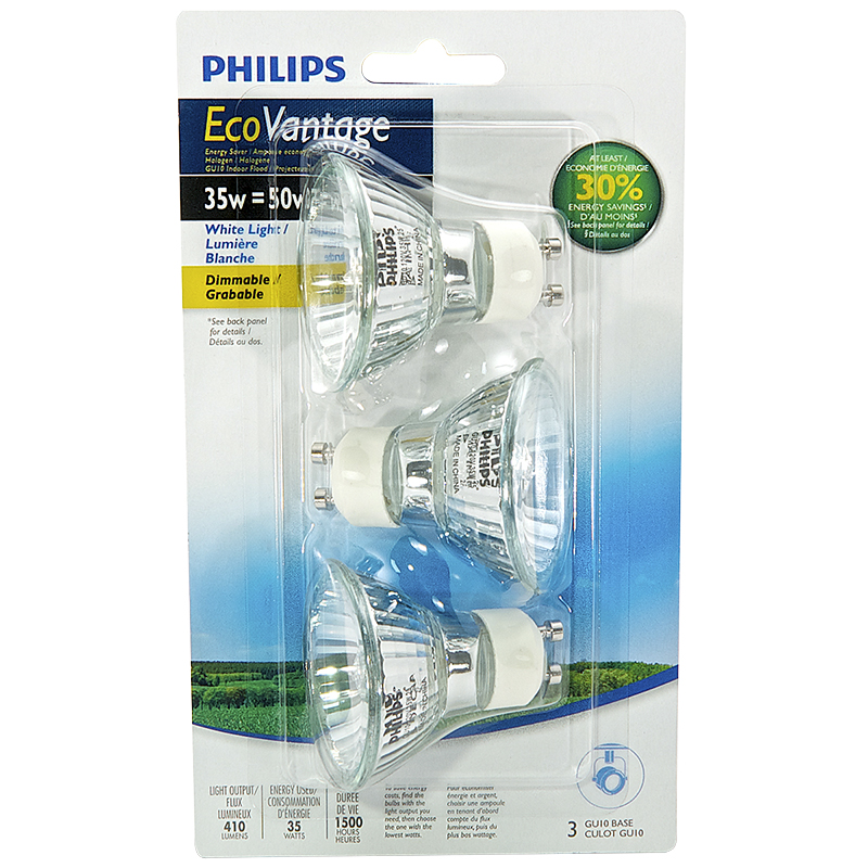Philips Ecovantage GU10 Light Bulb - 3 pack