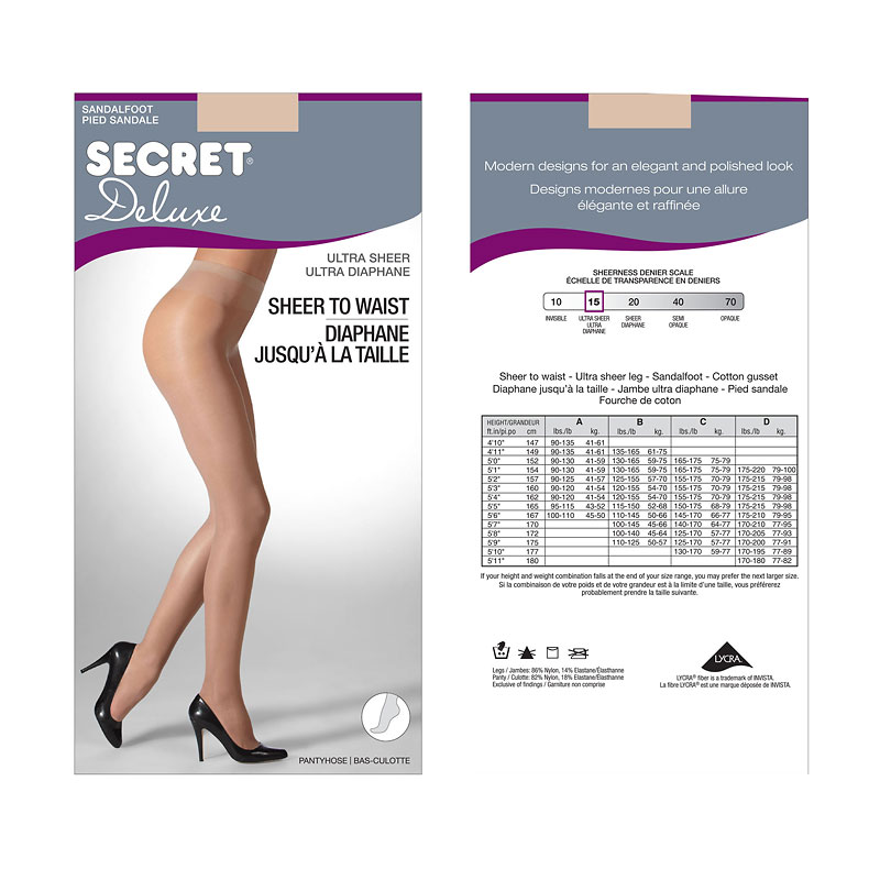 Secret Gloss Control Top Panty Hose - B - Nude
