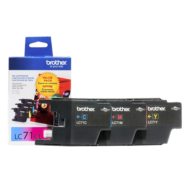 Brother LC71 3 Pack Colour Printer Ink Cartridges - LC713PKS