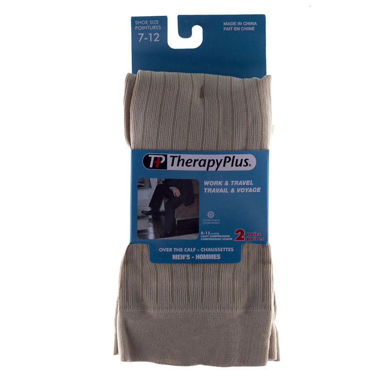 Therapy Plus Over the Calf Socks - Tan - 2 Pair - Size 7 to 12